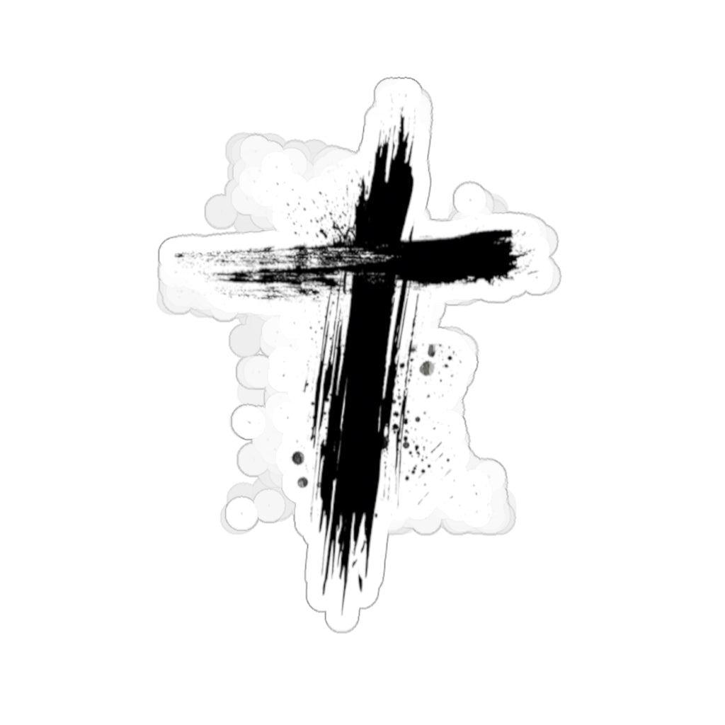 Black Cross Kiss-Cut Sticker