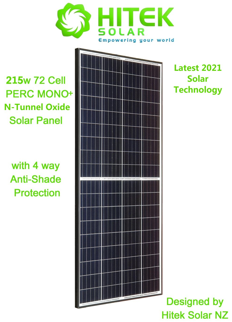 215w PERC MONO+N-TO Solar Panel (4 Way Anti-Shading Protection) - Latest Solar Technology for 2021