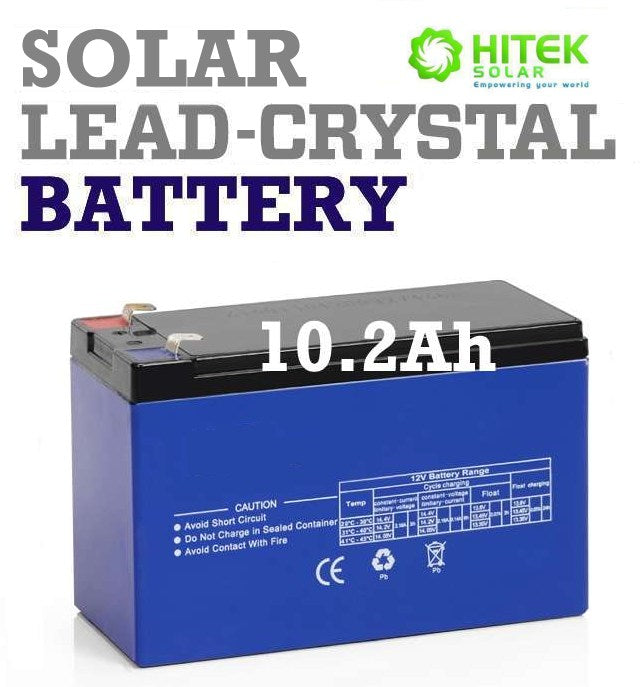 12v 9Ah - 10.2Ah Solar Lead-Crystal deep cycle battery for kontiki, ups, electric fence, razor bike, kids ride on toys, ups, alarm system, etc.