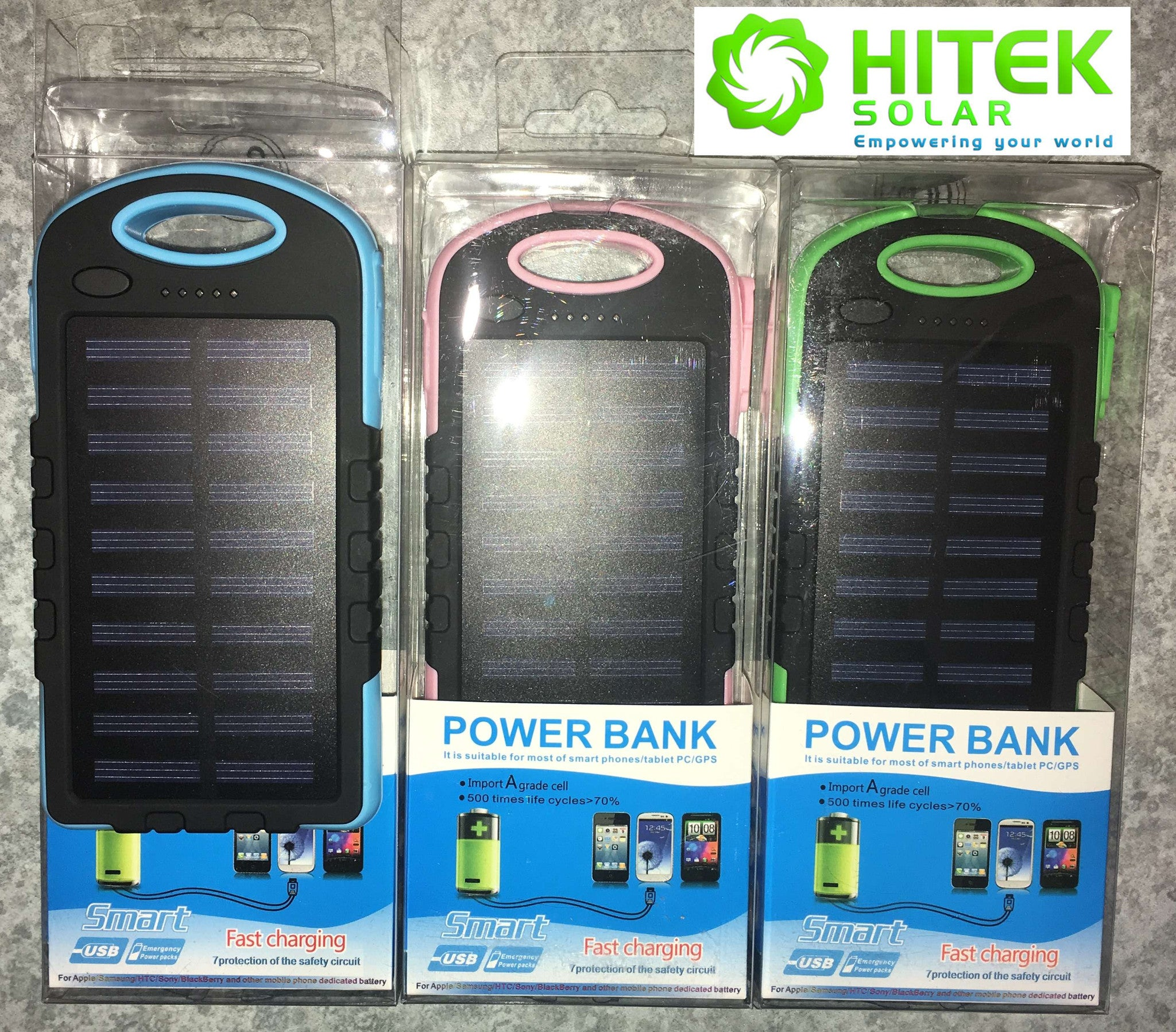 Hitek Solar Power Bank 8000mAh with LED flood light torch