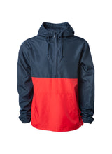 Load image into Gallery viewer, Mens Lightweight Navy Top Red Bottom Windbreaker Anorak Jacket