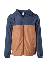 Load image into Gallery viewer, Mens Super Lightweight Hooded Full Zip Up Windbreaker Jacket Top Navy Blue Bottom Saddle Brown