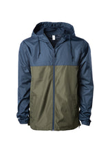 Load image into Gallery viewer, Mens Super Lightweight Hooded Full Zip Up Windbreaker Jacket Top Navy Blue Bottom Army Green