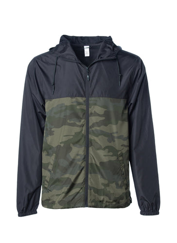 Mens Super Lightweight Hooded Full Zip Up Windbreaker Jacket Top Black Bottom Army Camo