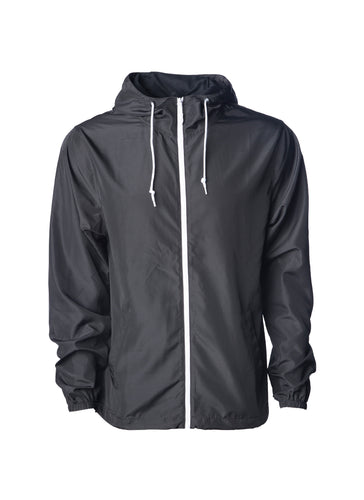 Unisex Super Lightweight Black Windbreaker Hooded Jacket With Full White Zipper
