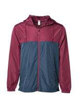 Load image into Gallery viewer, Mens Super Lightweight Hooded Full Zip Up Windbreaker Jacket Top Maroon Bottom Navy Blue