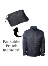 Load image into Gallery viewer, Men's Lightweight Full Zip Black Quilted Puffer Jacket With Packable Pouch Included