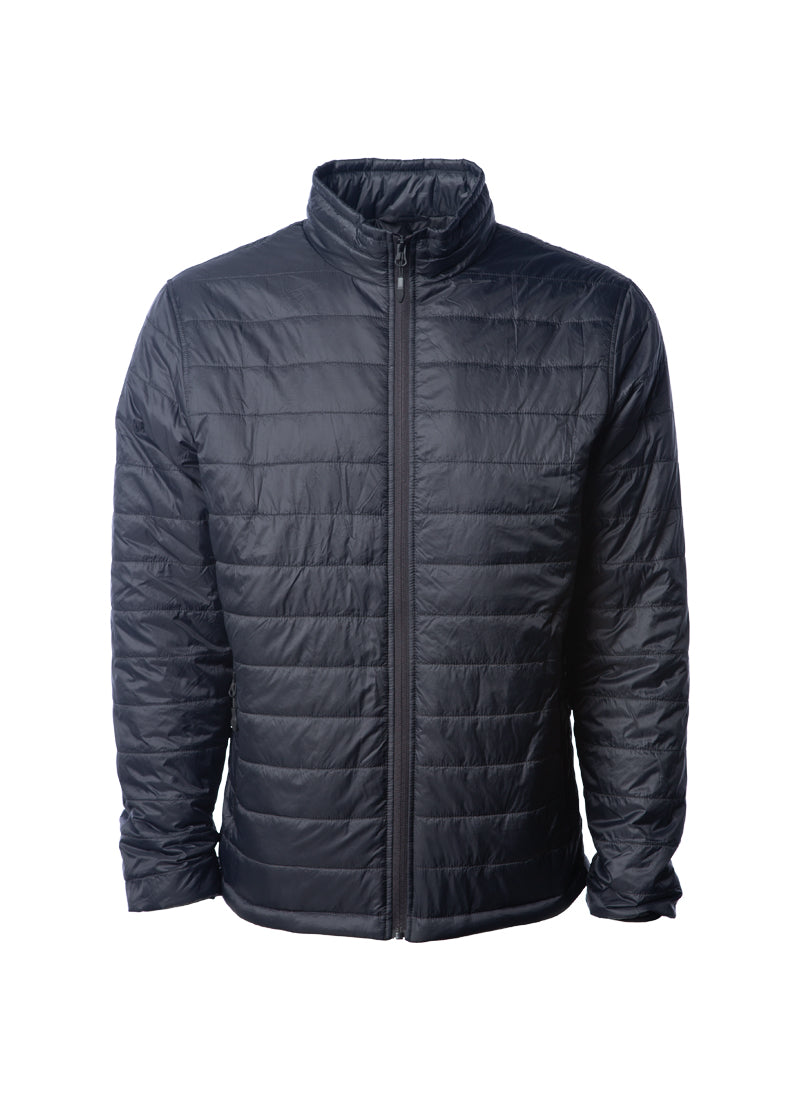 Men's Lightweight Full Zip Black Puffer Jacket