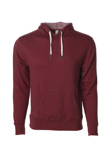 Unisex French Terry Hoodie Burgundy Pullover Sweatshirt