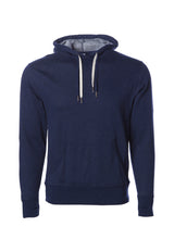 Load image into Gallery viewer, Unisex French Terry Hoodie Navy Blue Pullover Sweatshirt
