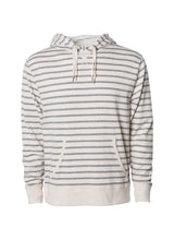 Load image into Gallery viewer, Unisex French Terry Hoodie Oatmeal With Grey Stripes Pullover Sweatshirt