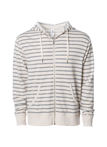 Unisex Terry Striped Heather Zip Up Hoodie Sweatshirt