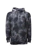 Load image into Gallery viewer, Unisex Black Tie Dye Hoodie Midweight Pullover