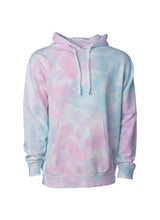 Load image into Gallery viewer, Unisex Cotton Candy Pink and Blue Tie Dye Hoodie Midweight Pullover