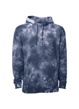 Load image into Gallery viewer, Unisex Navy Blue Tie Dye Hoodie Midweight Pullover