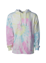 Load image into Gallery viewer, Unisex Sunset Swirl With Yellow Pink and Baby Blue Tie Dye Hoodie Midweight Pullover