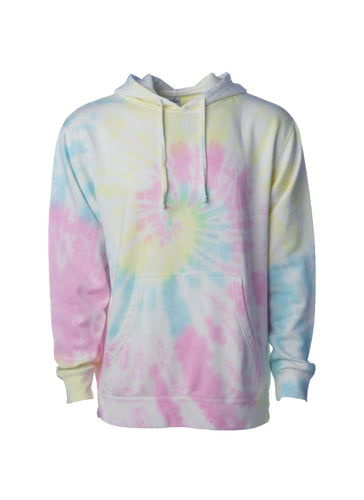 Unisex Sunset Swirl With Yellow Pink and Baby Blue Tie Dye Hoodie Midweight Pullover