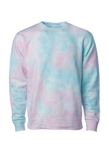 Load image into Gallery viewer, Unisex Fit Baby Blue with Pink Swirl Tie Dye Crewneck Sweatshirt