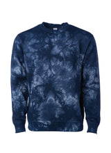 Load image into Gallery viewer, Unisex Fit Navy Blue Tie Dye Crewneck Sweatshirt