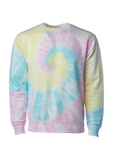 Load image into Gallery viewer, Unisex Fit Baby Blue with Yellow and Pink Swirl Tie Dye Crewneck Sweatshirt