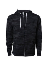 Load image into Gallery viewer, Lightweight Slim Fit Black Camo Zip Hoodie