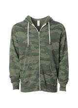 Load image into Gallery viewer, Lightweight Slim Fit Forest Camo Zip Hoodie