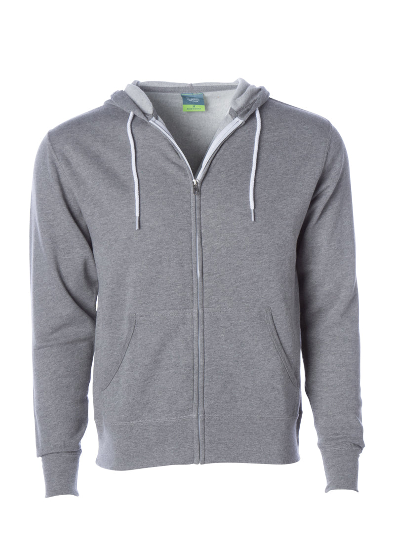 Lightweight Slim Fit Gunmetal Heather Zip Hoodie