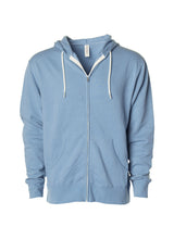 Load image into Gallery viewer, Lightweight Slim Fit Misty Blue Zip Hoodie