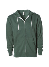 Load image into Gallery viewer, Lightweight Slim Fit Alpine Green Zip Hoodie
