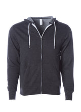 Load image into Gallery viewer, Lightweight Slim Fit Charcoal Heather Zip Hoodie
