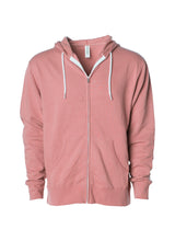 Load image into Gallery viewer, Lightweight Slim Fit Rose Pink Zip Hoodie