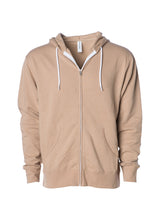 Load image into Gallery viewer, Lightweight Slim Fit Sandstone Tan Zip Hoodie