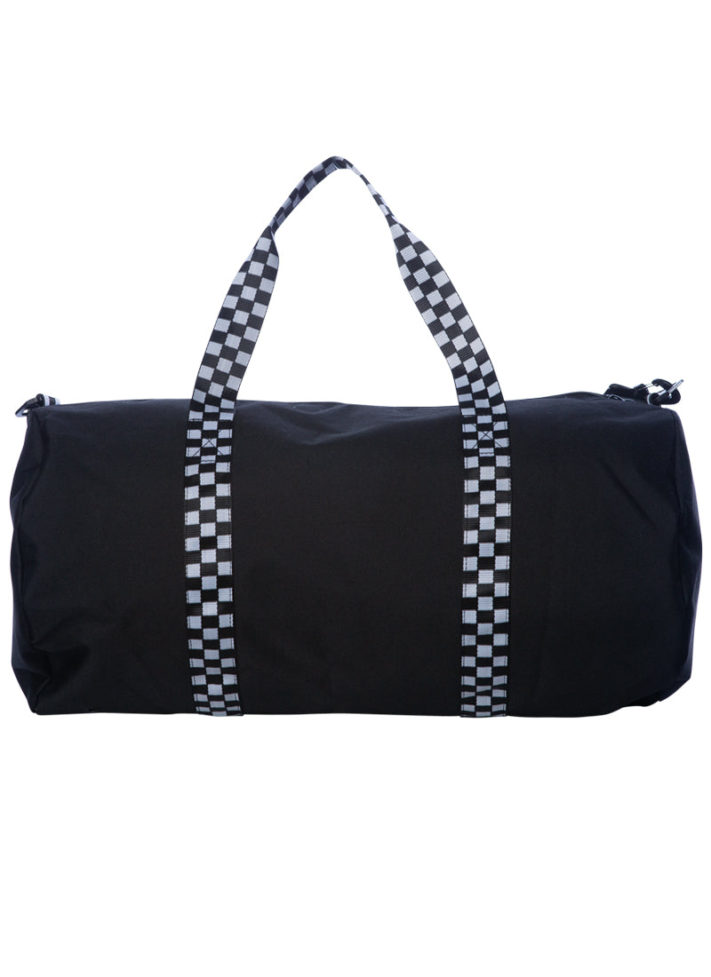 Black duffel bag with black and white checkered strap