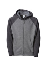 Load image into Gallery viewer, Toddler Lightweight Ultra Soft Nickel Grey Body With Carbon Grey Sleeves Zip Up Hoodie