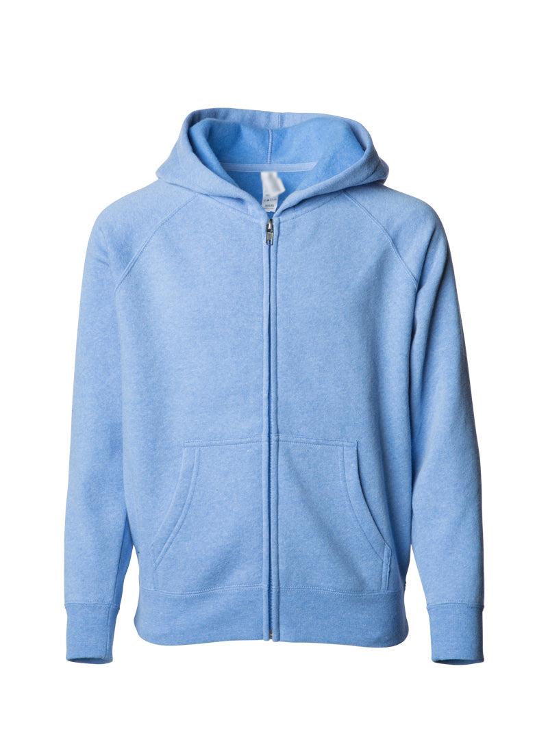 Youth Lightweight Ultra Soft Pacific Blue Zip Hoodie Sweatshirt