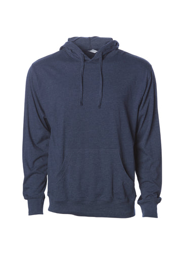 Mens Lightweight Navy Blue Heather Jersey Pullover Hoodie Sweatshirt