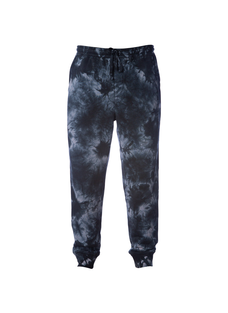 Mens Black Tie Dye Sweatpants With Pockets