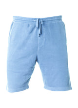 Load image into Gallery viewer, Mens Sweatshorts Pigment Dyed Light Blue Fleece Shorts