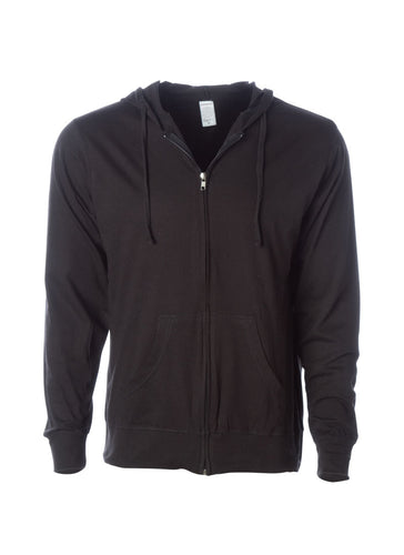 Mens Lightweight Jersey Zip Hoodie Sweatshirt in Black
