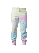 Load image into Gallery viewer, Mens Sunset Swirl Pink And Yellow Tie Dye Sweatpants With Pockets