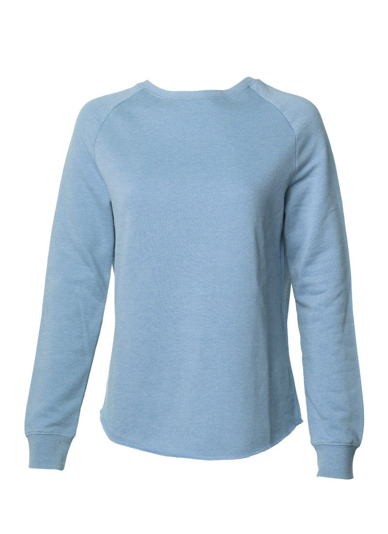 Women's Color Washed Ultra Soft Vintage Misty Blue Crew Sweatshirt