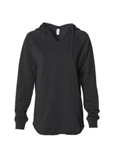 Load image into Gallery viewer, Women's Color Washed Ultra Soft V-Neck Black Pullover Vintage Hoodie