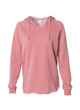 Load image into Gallery viewer, Women's Color Washed Ultra Soft V-Neck Rose Pullover Vintage Hoodie
