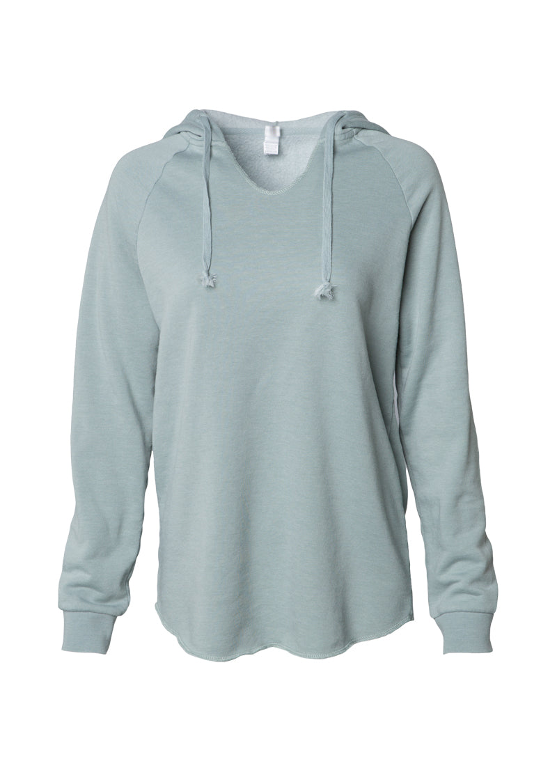 Women's Color Washed Ultra Soft V-Neck Sage Pullover Vintage Hoodie