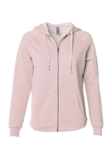 Women's Vintage Blush Color Washed Zip Hoodie