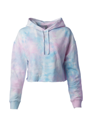 Womens Cropped Cotton Candy Tie Dye Hooded Sweatshirt