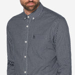 CAMISA GINGHAM NEGRA STRETCH DE MANGA LARGA