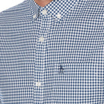 CAMISA GINGHAM AZUL STRETCH DE MANGA LARGA
