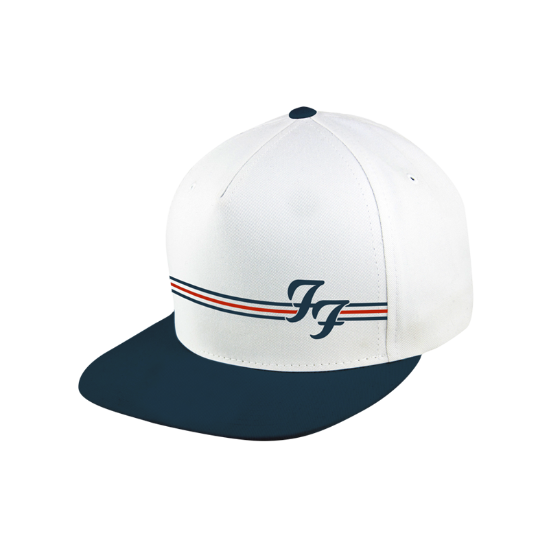 White and Navy Snapback Hat - Foo Fighters