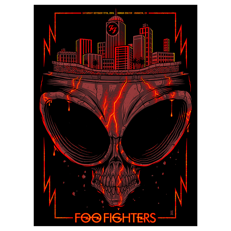 Anaheim Skull Show Poster 10/17/15 - Foo Fighters - 1